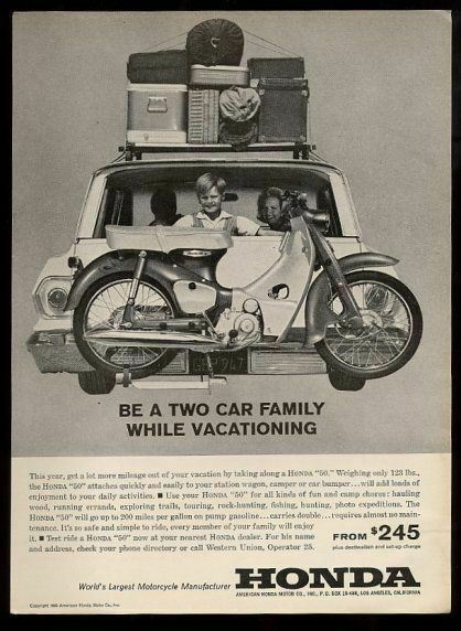 1963 Honda 50 motorcycle on back of station wagon photo vintage print ad