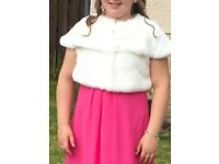Girls cream fur bolero age 10