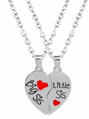 New 2pc Big Little Sis Sister Necklace Matching Heart Friendship Best Friend BFF
