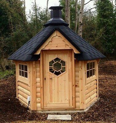 BBQ HUT 4.5 m² Hut Cabin , Timber Log Cabin / Summer...
