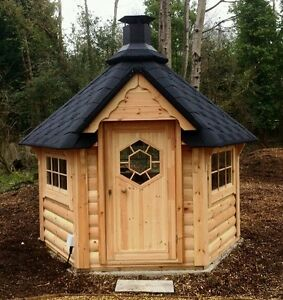 Bbq hut 4 5 m hut cabin timber log cabin summer house for Garden hut sale