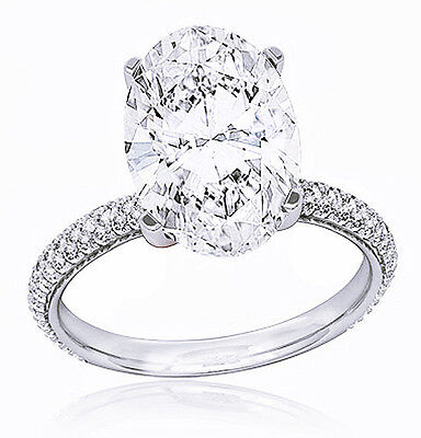 1.80 ct. Micro Pave Oval Brilliant Cut Diamond Engagement Ring G, VS2 GIA NEW
