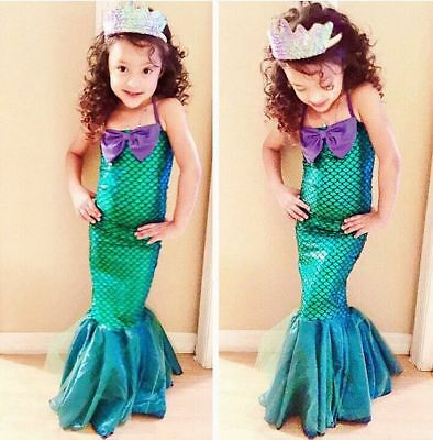Kids Ariel Little Mermaid Set Girl Princess Dress Party Cosplay Costume US Stock - Girl Teen Costumes
