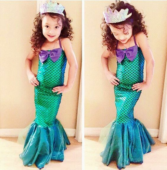 Kids Ariel Little Mermaid Set Girl Princess Dress Party Cosplay Costume US Stock