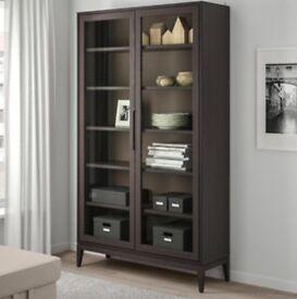 Ikea brown glass-door cabinet in VGC