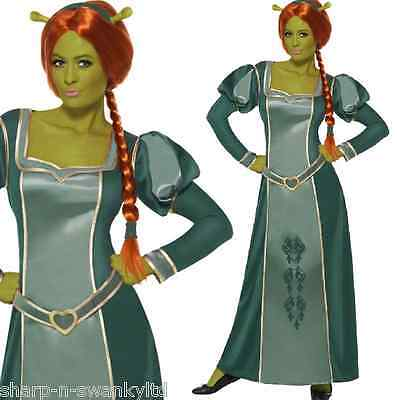 Ladies Official Shrek Long Fiona Princess Halloween Fancy Dress Costume Outfit - Fiona Outfit
