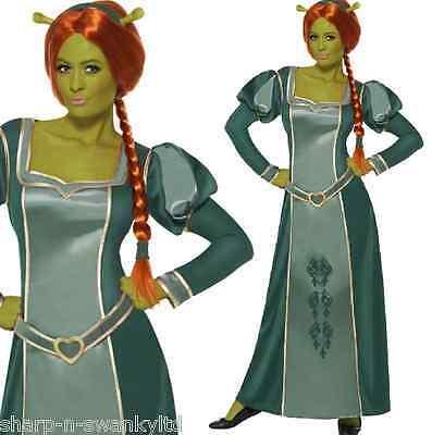 Damen Offiziell Shrek Lang Fiona Prinzessin Halloween Kostüm Kleid Outfit (Prinzessin Fiona Shrek Kostüme)
