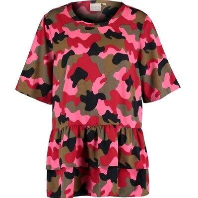 JUNAROSE Green & Pink Camo Blouse - UK 20/EU 46/US 16