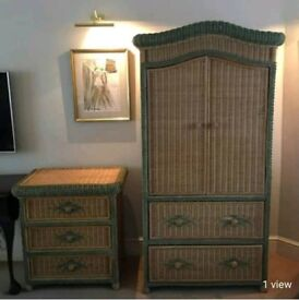 Lovely Wicker Wardrobe & Chest of Drawers