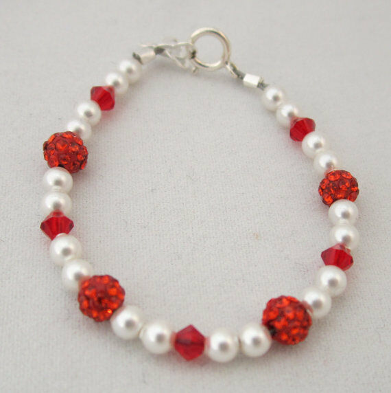 Baby Bracelet with Swarovski White Pearls and Red Crystals with Red Pave Beads