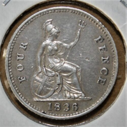 Great Britain 4 Pence (Groat) 1836 Extremely Fine Silver Coin King William IIII