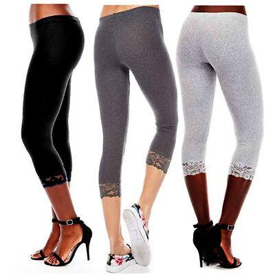 Capri Leggings Hem Lace Trim 3/4 Length Cotton Casual <Junior Size & Plus -