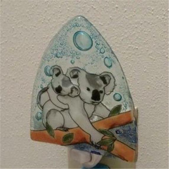 Koala Bear Marsupial Fused Art Glass Night Light Ecuador US Plug