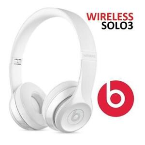 NEW BEATS SOLO3 WIRELESS HEADPHONES MNEP2LL/A 179548398 GLOSS WHITE BLUETOOTH AUDIO ON EAR SOUND ISOLATING