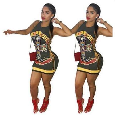 Bodycon dress Gun & Rose Skull Printed Bandage dress S-XL Sleeveless dress