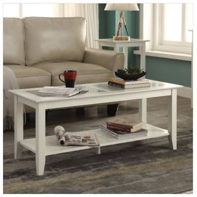 Glass Top Coffee White Table Living Room Wood Storage Coastal Beach Furniture