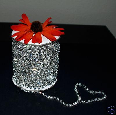 30 feet Crystal Rhinestone Silver Chain Wedding Cake Band Ribbon 4mm SS16 RC004