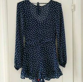 Navy polkadot playsuit size 6/8