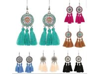 Loads different styles of long drop BOHEMIA feather earings