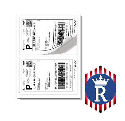 Paypal Shipping Labels 2 Per Page 8.5x5.5 - Best Quality