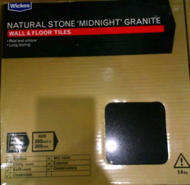 15 Packs Natural S tone 'midnight' (black) Granite Wall Floor Tiles