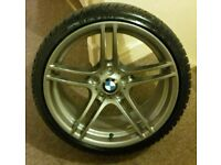 "×1 GENUINE BMW 19"" 313M 9J REAR ALLOY WHEEL AND TYRE E90, E91, E92, E93"
