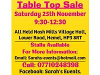 TABLE TOP SALE INSIDE SAT 25 NOV 9:30-12:30 PITCHES AVAILABLE NASH MILLS VILLAGE HALL HEMEL