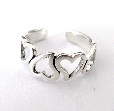 Sterling Silver up and down hearts toe ring