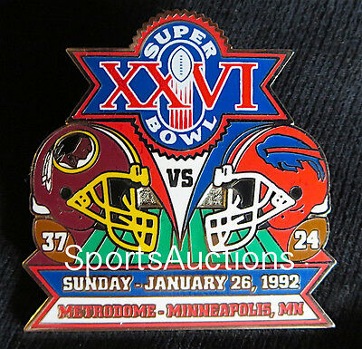 Super Bowl 26 Final Score Lapel Pin   Card Willabee Ward Redskins Bills Sb Xxvi
