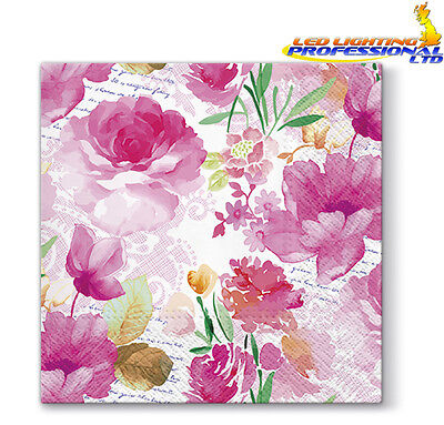 20 Paper Lunch Napkins ROMANTIC DIARY Serviettes Pink Flowers Roses 3ply