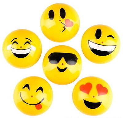 """12 HUGE EMOJI 2"""" PARTY POPPER JUMPING TOYS, TURN THEM INSIDE OUT WATCH THEM JUMP"""