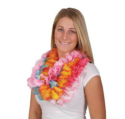 LOT OF 12 HAWAIIAN CARNATION FLOWER TWO TONE LEIS LUAU BEACH PARTY CARNIVALS - Leis Flowers