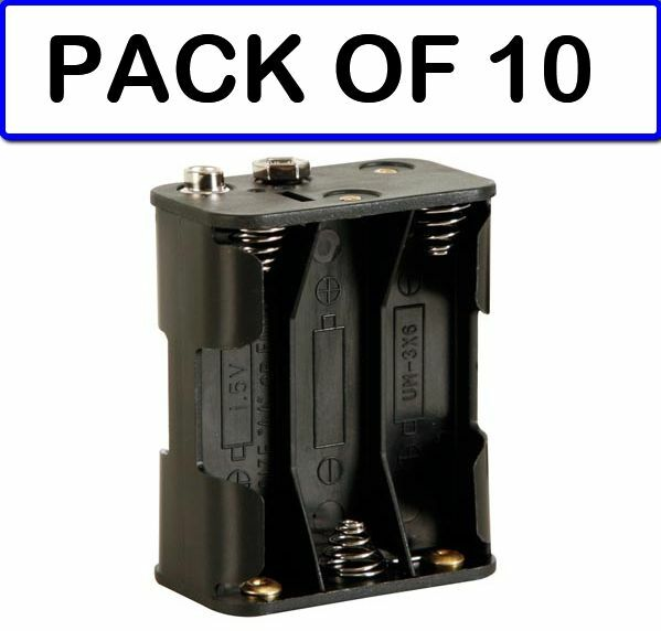 (PACK OF 10) Velleman BH363B BATTERY HOLDER FOR 6 x AA (WITH SNAP TERMINALS)