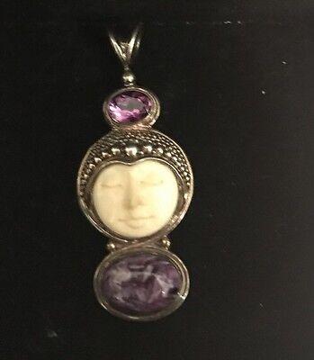 Offerings Sajen 925 Sterling Silver Amethyst & Charoite Carved Goddess Pendant