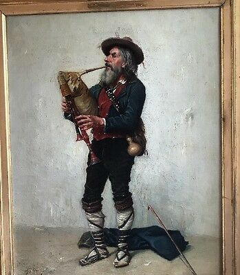 Antoine Gabriel GASTON CLARIS Original OIL CANVAS French BAGPIPER Bagpipe 19th c