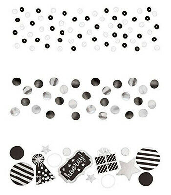 Black And White Striped Party Supplies (BLACK and WHITE birthday party TABLE CONFETTI 1 pack w/3 types dots)