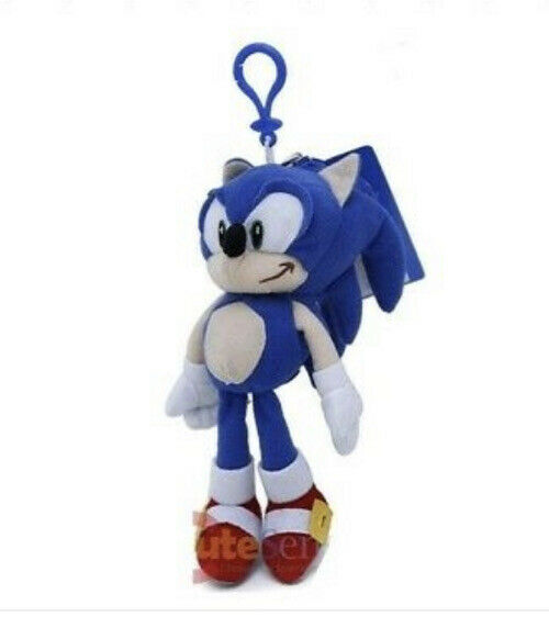 Sonic The Hedgehog Soft Plush -Sonic- Doll Key Chain Coin Bag Clip On Licensed