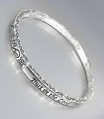 Inspirational Proverbs 3 5 Trust In The Lord Thin Silver 4Mm Stackable Bracelet