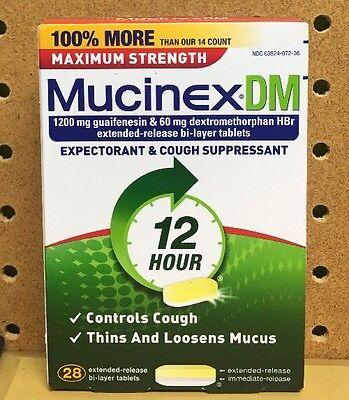 Mucinex Dm Maximum Strength Expectorant Cough Suppressant 1200Mg 28 Tablets  New