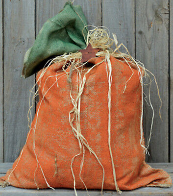 Painted Burlap Pumpkin Grain Sack ~ Fill with Leaves / Newspaper / Rags - Pumpkin With Leaves