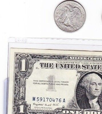 90 % silver walking liberty half  & 1935 or 1957 $1 silver certificate, lot of 2