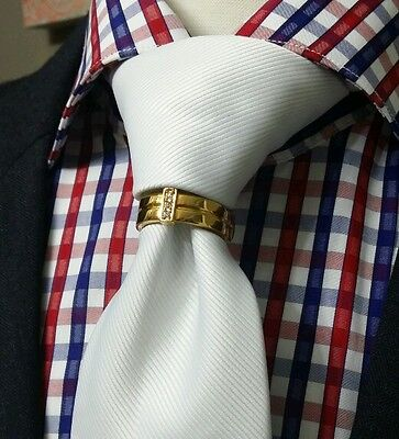 Neck Tie Charm (MENS NECK TIE RING CLASP CHARM TACK PIN EURO T BOSS WEDDING GROOM GIFT GOLD NEW )