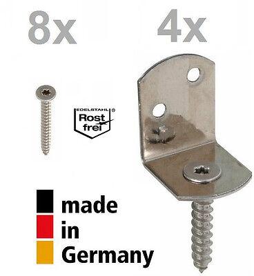 GAH-Alberts Flechtzaunbeschlag L-Form Edelstahl A2 GAH-Alberts 4Stück 83x32x30