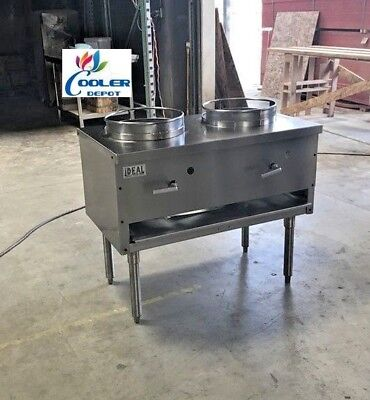 New Ideal 36 Commercial 2 Burner Wok Range Double Stir Fry Chinese Food Usa