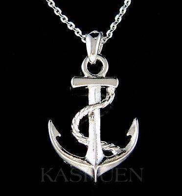 Nautical YACHT CLUB ANCHOR Marine Boat Necklace Jewelry Unisex Men Women Gift