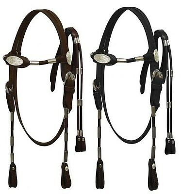 Western Saddle Horse Leather Bridle Headstall w/ Reins Black or Brown Horse size