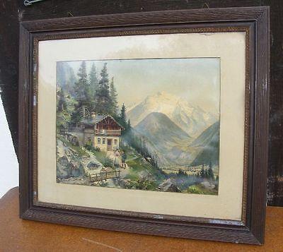 GEMÄLDE MÜHLE Alpen  KUNSTDRUCK um 1910