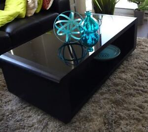 Modern Solid Wood Glass Top Coffee Table & End Table