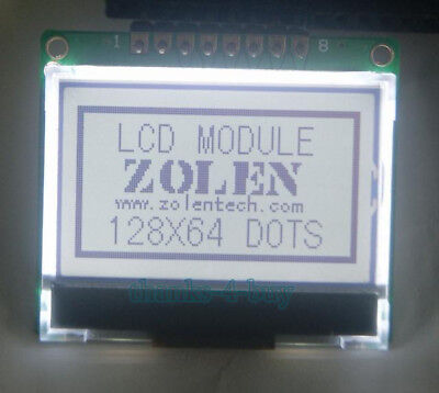1.5 128x64 Glcd Graphic Lcd Module Display Spi Serial St7565p White Backlight