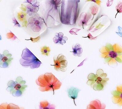 3D Nail Art Sticker E360 Multi Water Color Ink Flower Decal Manicure Peel &Stick 3d Nail Art Sticker